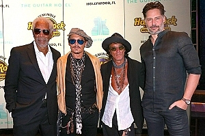 Morgan Freeman, Johnny Depp, Joe Perry and Joe Manganiello on the red carpet at Official Grand Opening of Seminole Hard Rock Hotel & Casino Hollywood (Florida)