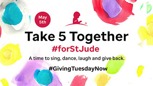 """Michael Strahan, Drew Barrymore, Ashley Tisdale, Kaia Gerber and more Unite for """"Take 5 Together #forStJude"""" on May 5 for #GivingTuesdayNow"""
