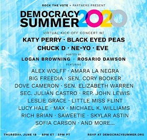 """Katy Perry and Black Eyed Peas to Co-Headline Star-Studded Rock the Vote """"Democracy Summer 2020"""" Kick-Off Concert on June 18"""