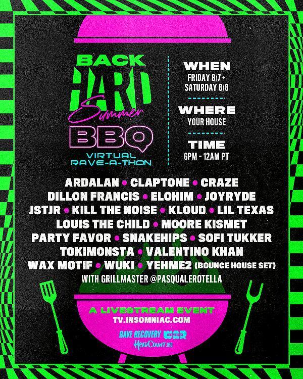 Insomniac Announces Lineup for BackHARD Summer BBQ Virtual Rave-A-Thon