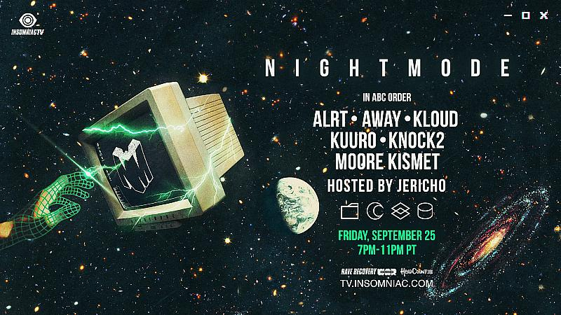 "Insomniac Events has teamed up with world-renowned streamer and content creator JERICHO for NIGHT MODE, live streaming on Twitch on Friday, Sept. 25 from 7 – 11 p.m. Hosted by JERICHO, NIGHT MODE will showcase dance music artists signed to his record label of the same name.  Since the beginning of the ongoing global pandemic, Insomniac has been on the forefront of the live streaming space and is now the number one music channel on Twitch. Working with JERICHO is a natural collaboration as his record label, NIGHT MODE Records, is distributed by Insomniac's record label, Insomniac Records. Featured in Forbes' 2018 30 Under 30 – Gaming list, JERICHO is one of the premier and most accomplished streamers on Twitch with over 1.2 million subscribers.  ""I'm excited to work with Insomniac to create this special event for NIGHT MODE, and glad to do it on the platform I call home: Twitch,"" said JERICHO. ""I want to bring my love for music closer to my love of gaming, and this is the first of many events that will accomplish that goal.""  The lineup for NIGHT MODE includes:  ALRT  AWAY  KLOUD  KUURO  KNOCK2  Moore Kismet  NIGHT MODE will continue Insomniac Events' dedication to collecting voluntary donations throughout the live stream, in partnership with Rave Recovery, in association with In Place of War. Rave Recovery was created to support those within the dance music community who are experiencing hardships due to the COVID-19 pandemic. In Place of War's COVID-19 emergency funds support community leaders in 24 conflict zones throughout the world in Africa, Latin America and the Middle East. Viewers will be reminded that their voice counts this election season and will be encouraged to register to vote via Headcount.org, a non-partisan organization, reaching young voters with the power of music.  Follow Insomniac on Facebook , Twitter and Instagram  for the latest news and updates."