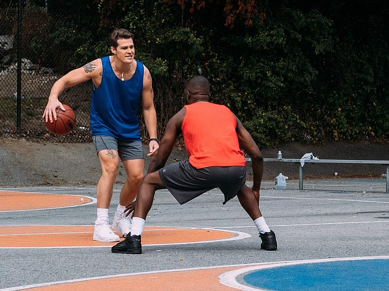 Greg Finley and Moise Morancy on court
