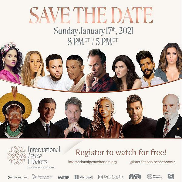 Sting, Stephen Curry, Eva Longoria, Camilo, Laura Pausini, Evaluna, Alejandro Sanz and Natalia Jimenez Join The Inaugural International Peace Honors